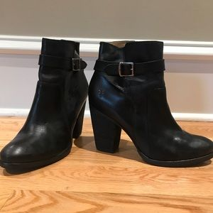 Frye Black Party Leather Riding Ankle Boots